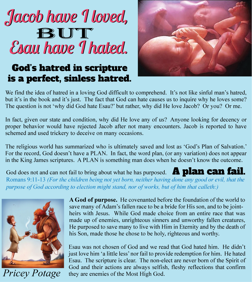 why did god favor jacob and God chose jacob (whom he later renamed israel) to be the father of his chosen people, the israelites god rejected esau (who was also called edom) and did not choose him to be the father of his chosen people esau and his descendants, the edomites, were in many ways blessed by god.